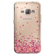 Capa Transparente Personalizada Exclusiva Samsung Galaxy J1 2016 Corações - TP48