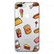Capa Transparente Personalizada Para iPhone 7 Plus e iPhone 7 Pro Eu Amo Comida - TP105