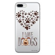 Capa Transparente Personalizada Para iPhone 7 Plus e iPhone 7 Pro I Love Dogs - TP116