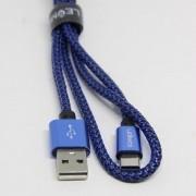 Cabo de Dados e Carregador Estilo Corda Fast USB Preto com Azul