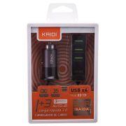 Carregador Veicular Turbo 3.4A Kadii KD131 e Hub USB 4 Portas