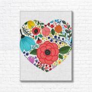Quadro Canvas Decorativo - Coração Floral - FQ119