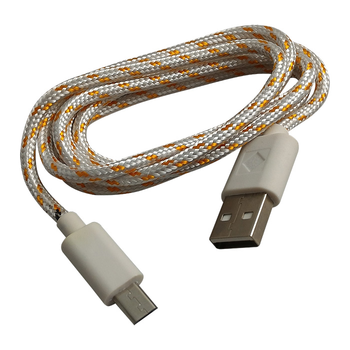 Cabo de Dados e Carregador Estilo Corda Micro USB 1 Metro - Branco