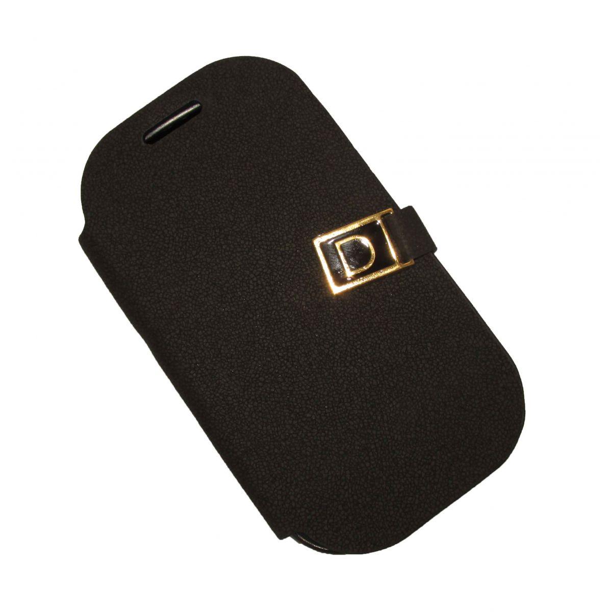 Capa Carteira Flip para Galaxy Young Duos TV S6310 S6312 S6313  Pelicula Preta