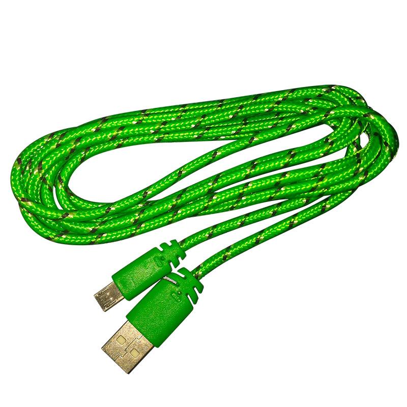 Cabo de Dados Estilo Corda Micro USB 2 Metros - Verde