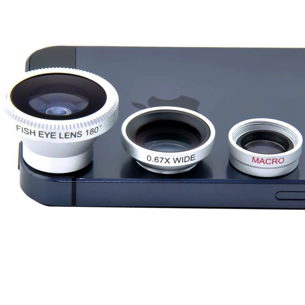 Kit Lente 3x1 Olho de Peixe Fisheye Universal