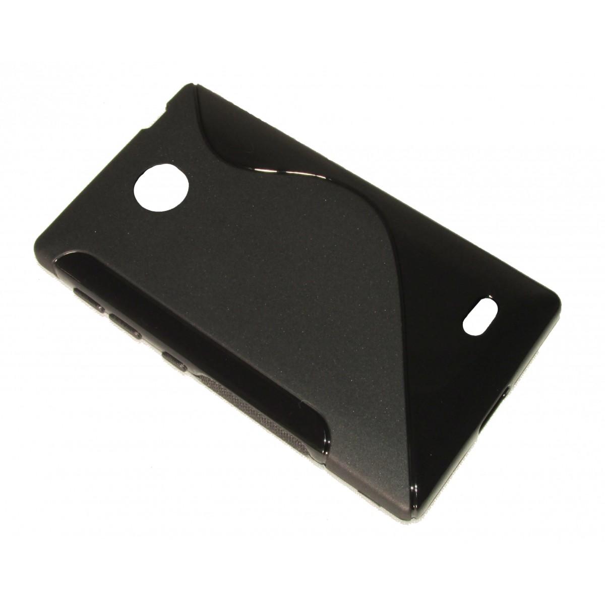 Capa TPU S-Type Preta Nokia X A110 RM980 + Película Flexível