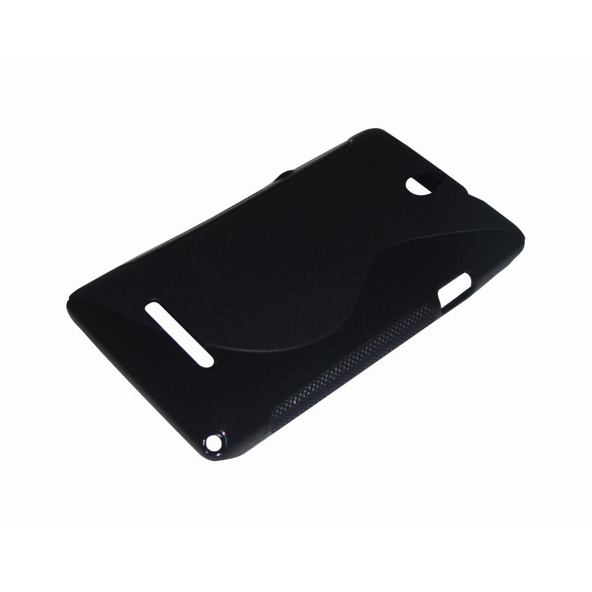Capa TPU S-Type Preta Sony Xperia E C1604 C1605 + Película Flexível