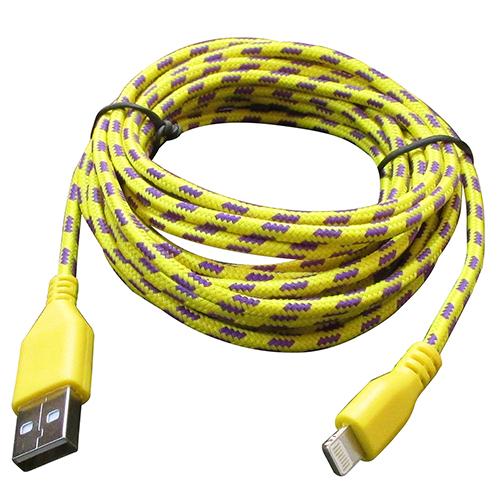 Cabo de Dados Estilo Corda para iPhone 1 Metro - Amarelo