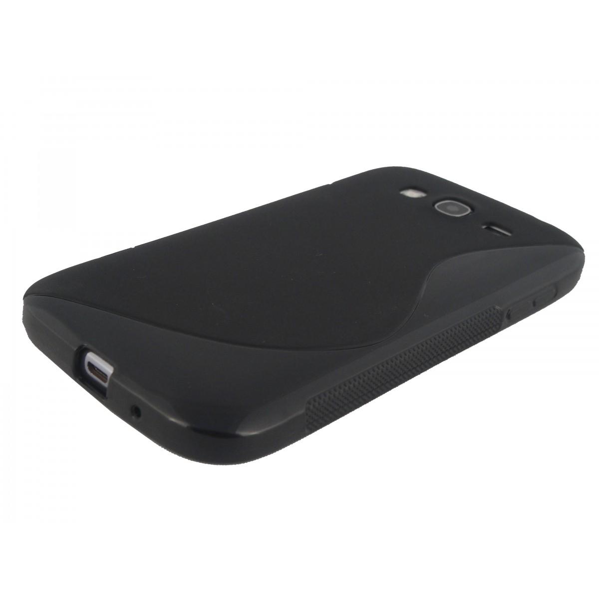 Capa TPU S-Type Preta Samsung Grand Duos i9082 + Película Flexível