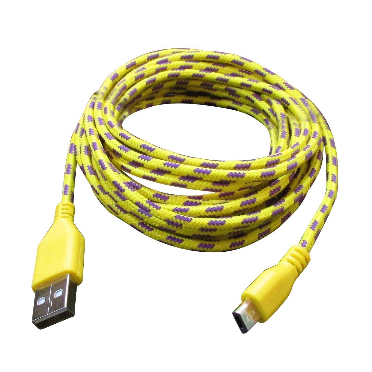Cabo de Dados Estilo Corda Micro USB 3 Metros - Amarelo