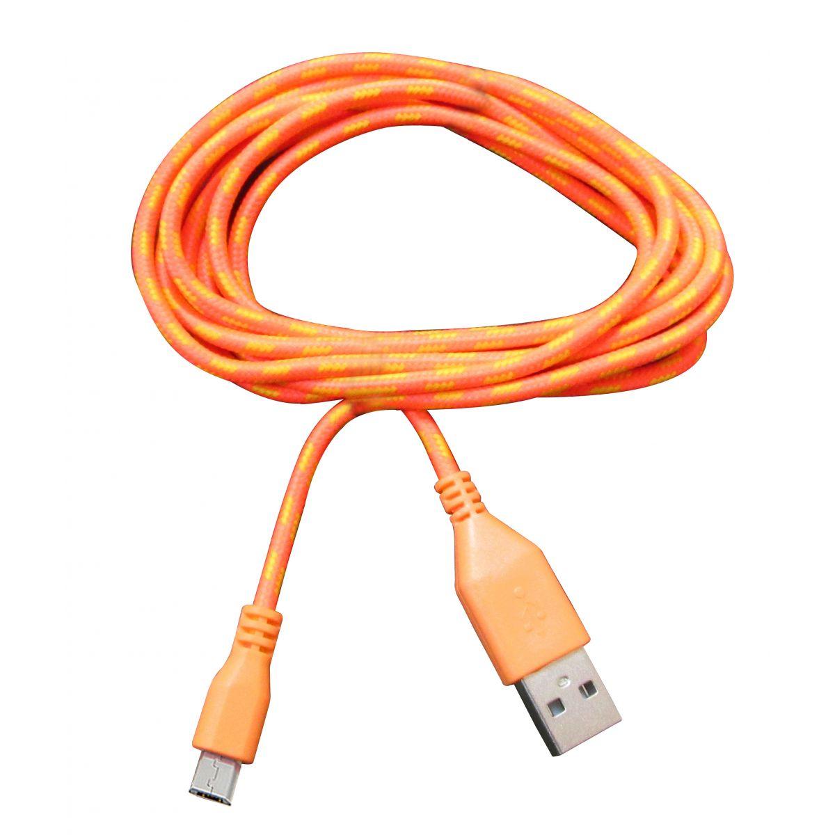 Cabo de Dados Estilo Corda Micro USB 2 Metros - Laranja