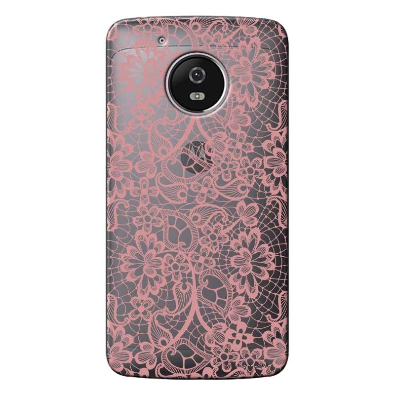 Capa Personalizada para Motorola Moto G5 XT1676 Renda Rosa - TP284