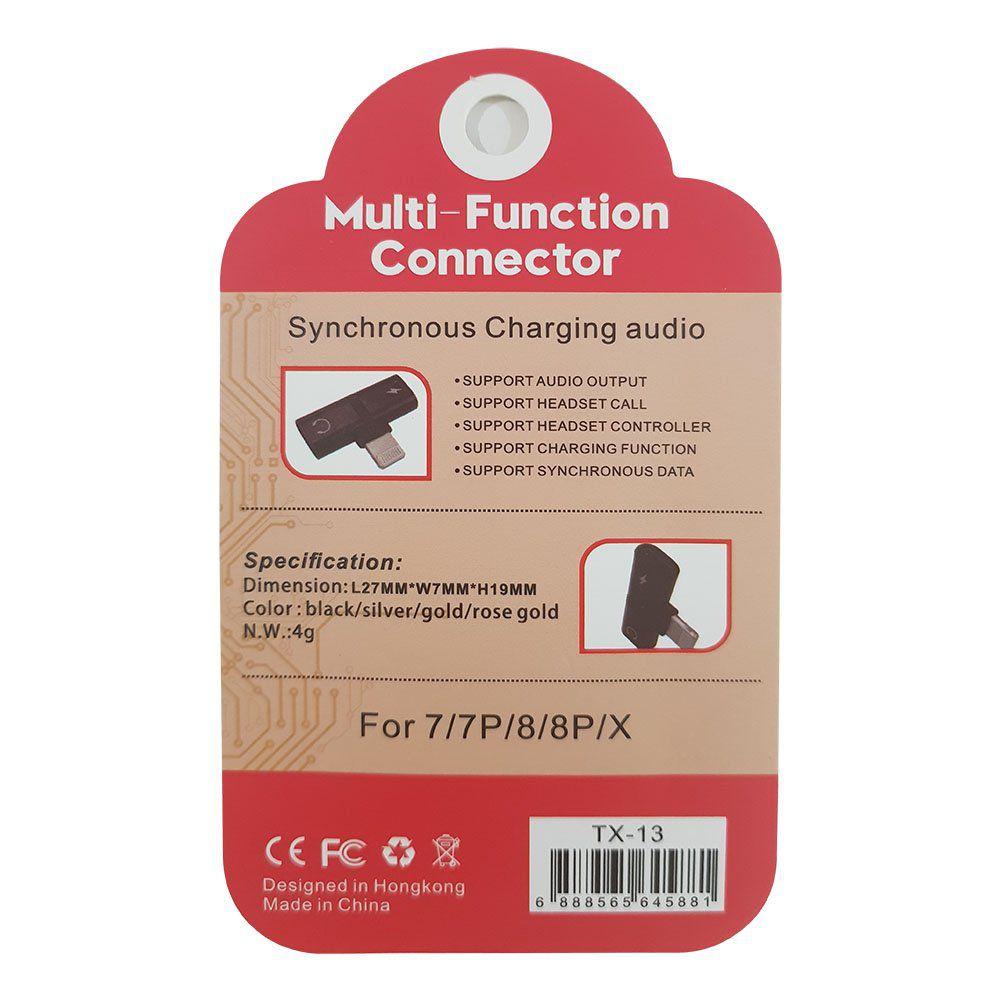 Adaptador Multi-Função de iPhone com 2 Saídas Lightning