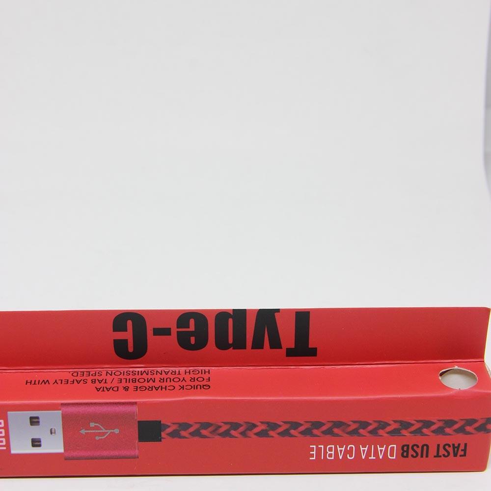 Cabo de Dados Estilo Corda Micro USB - Preto com Vermelho