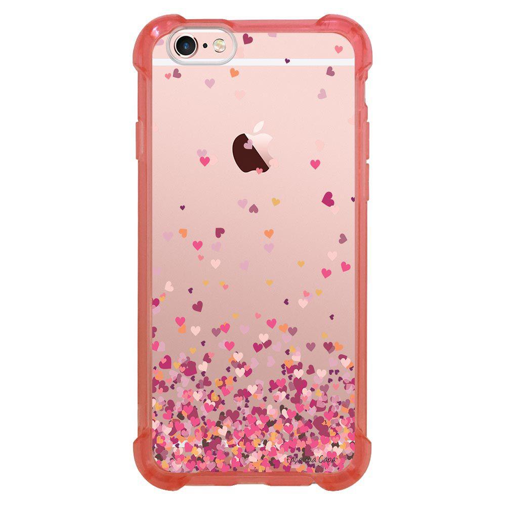 Capa Intelimix Anti-Impacto Rosa Apple iPhone 6 6s Corações - TP48