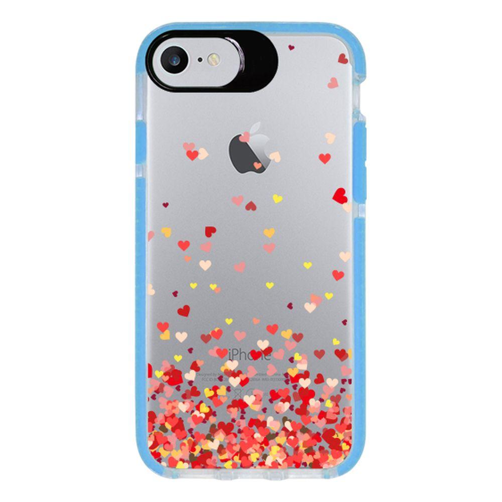 Capa Personalizada Intelimix Intelishock Azul Apple iPhone 7 - Corações - TP168