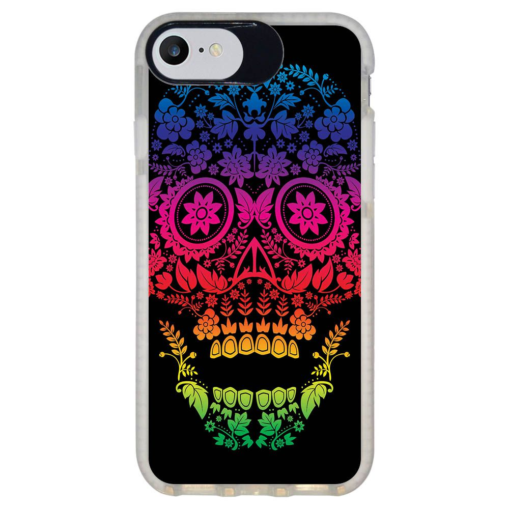 Capa Personalizada Intelimix Intelishock Branca Apple iPhone 7 - Caveira - CV29