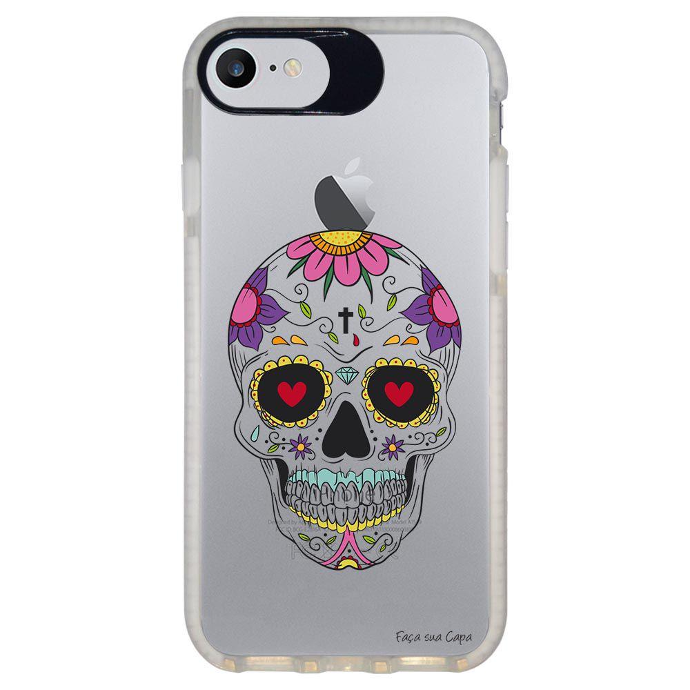 Capa Personalizada Intelimix Intelishock Branca Apple iPhone 7 - Caveira Mexicana - TP242