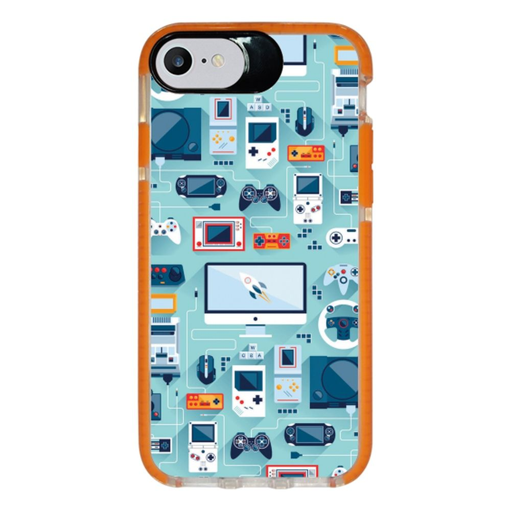Capa Personalizada Intelimix Intelishock Laranja Apple iPhone 7 - Vintage - VT13