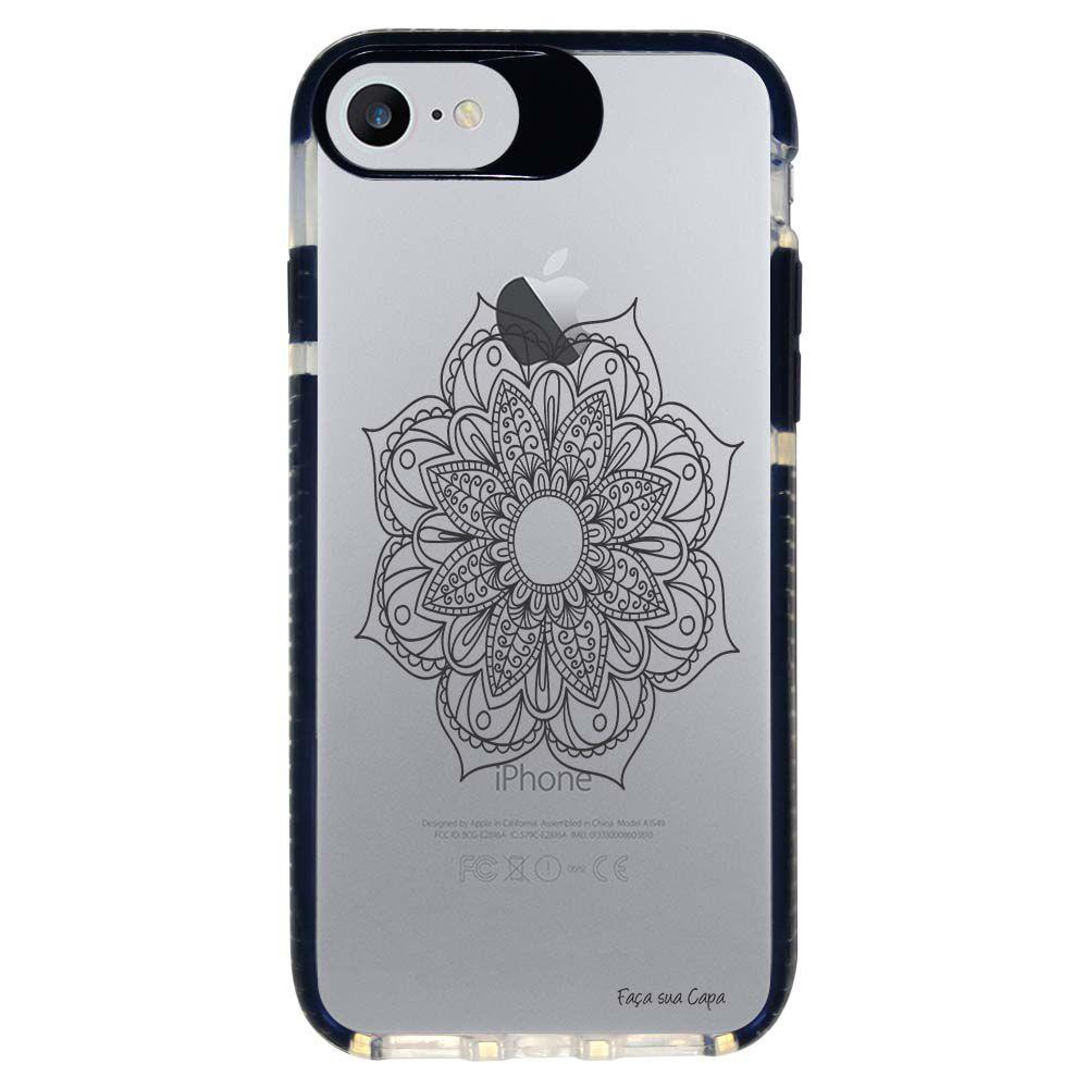 Capa Personalizada Intelimix Intelishock Preta Apple iPhone 7 - Mandala - TP260