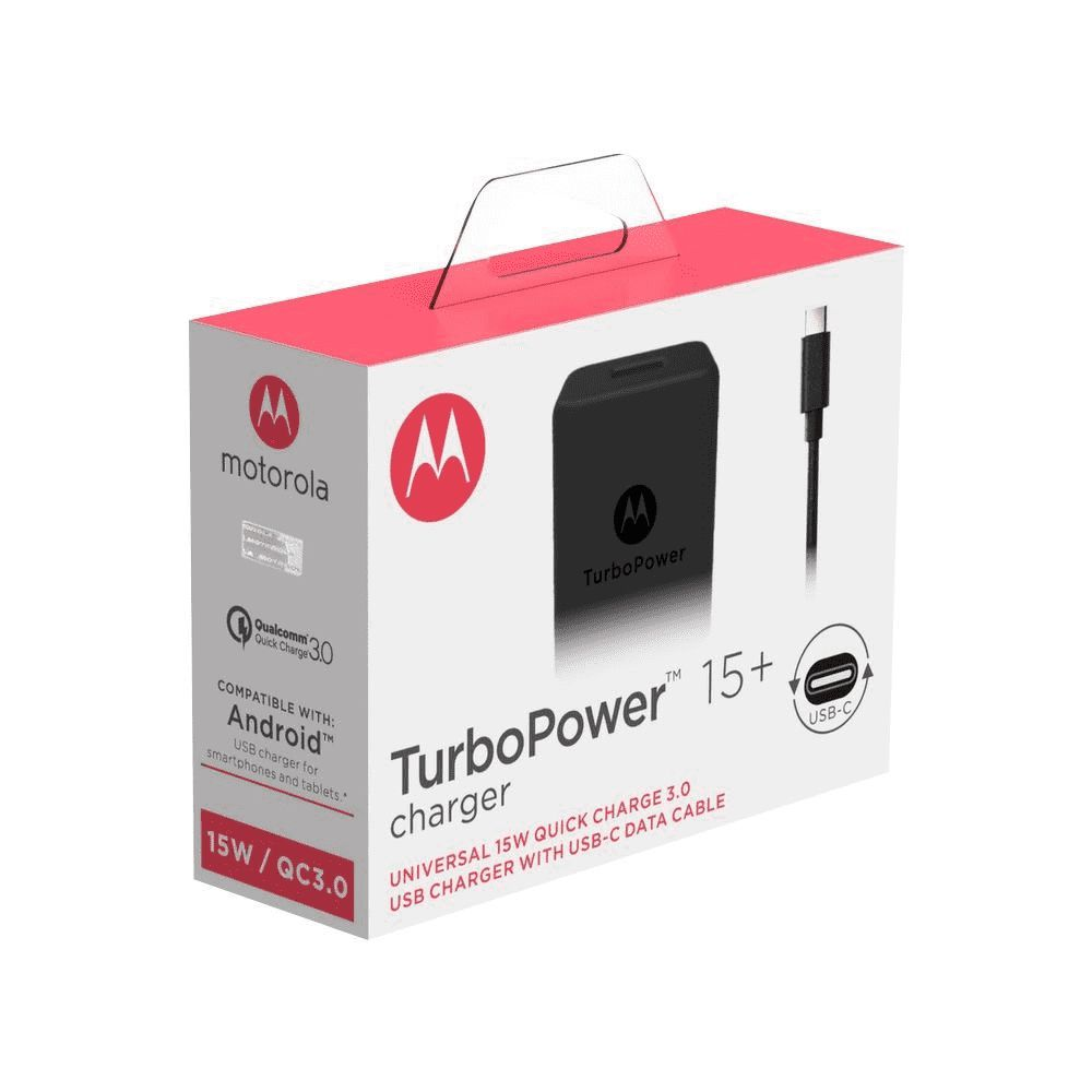 Carregador de Parede Motorola Turbo Power 15W e Cabo USB Tipo-C