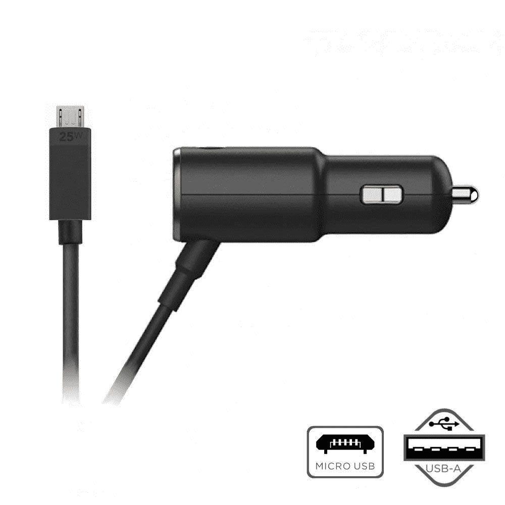 Carregador Veicular Motorola Turbo Power 25W Dual Port e Cabo Micro USB