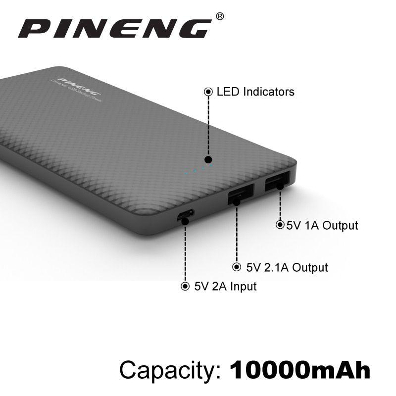 Power Bank Pineng 10000MAH Slim - Preto