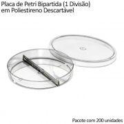 Placa de Petri Bipartida (1 Divisão) em Poliestireno Descartável 90x15mm - Pacote com 200 unidades