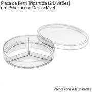 Placa de Petri Tripartida (2 Divisões) em Poliestireno Descartável 90x15mm - Pacote com 200 unidades