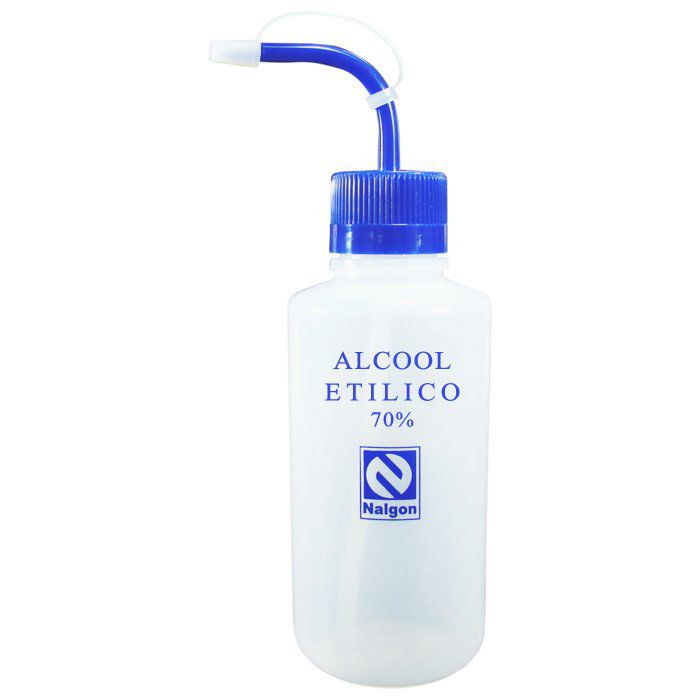 Pisseta em Polietileno Para Álcool Etilico 70% 500mL