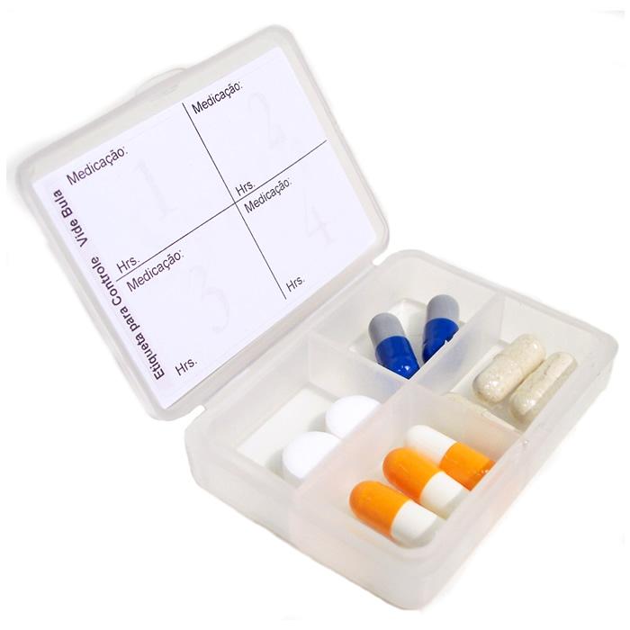 Estojo Porta-Cápsula ou Comprimidos 4 Compartimentos Natural