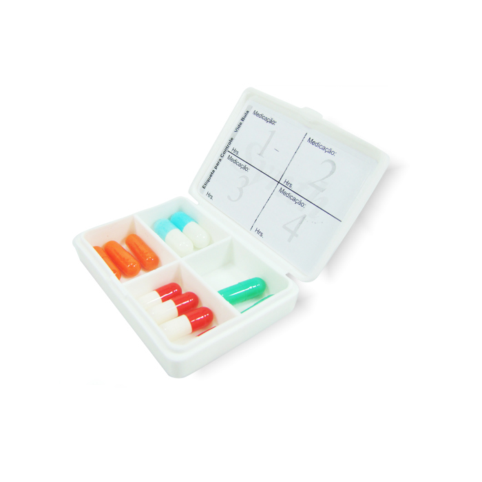 Estojo Porta-Cápsula ou Comprimidos 4 Compartimentos Branco