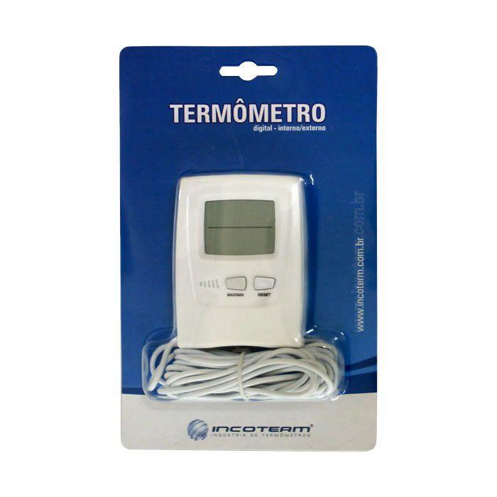Termômetro Máxima e Mínima Digital Escala Interna -20+70ºC e Externa -50+70ºC com Cabo
