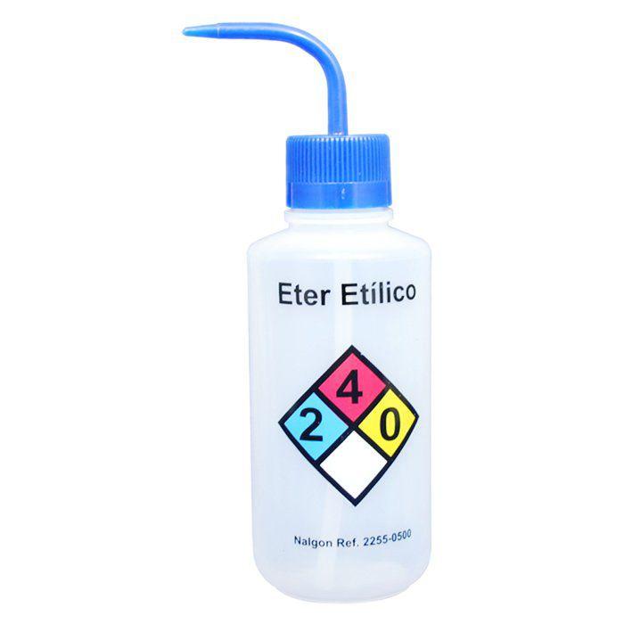 Pisseta em Polietileno 500mL para Éter Etílico Com Classificação de Risco