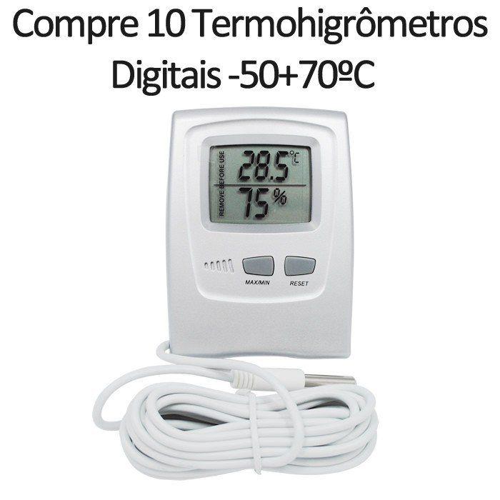 Compre 10 Termohigrômetros Digitais -50+70ºC