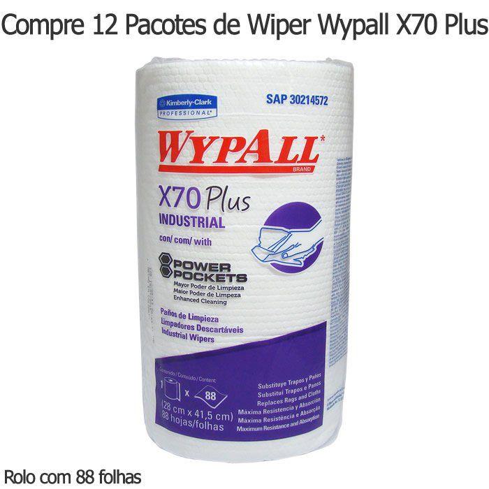 Compre 12 Pacotes de Wiper Wypall X70 Plus - Rolo com 88 panos