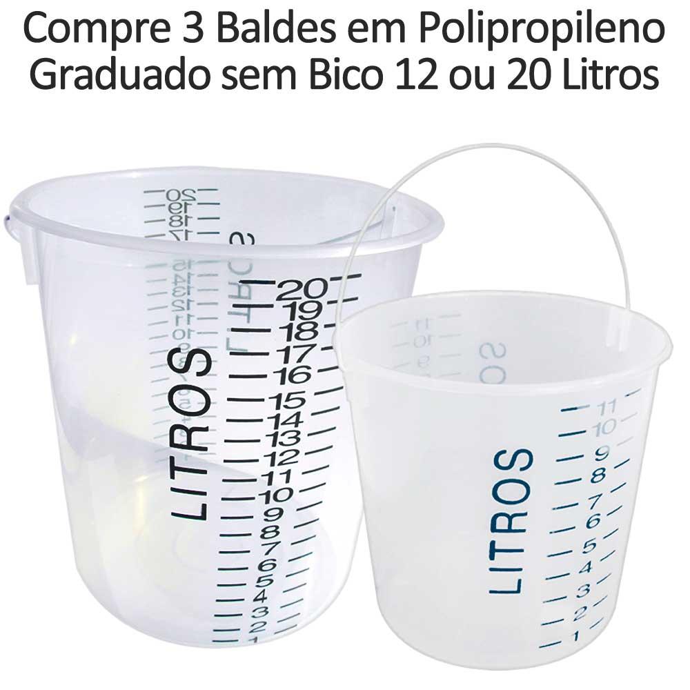 Compre 3 Baldes em Polipropileno Graduado sem Bico - Autoclavável até 90ºC