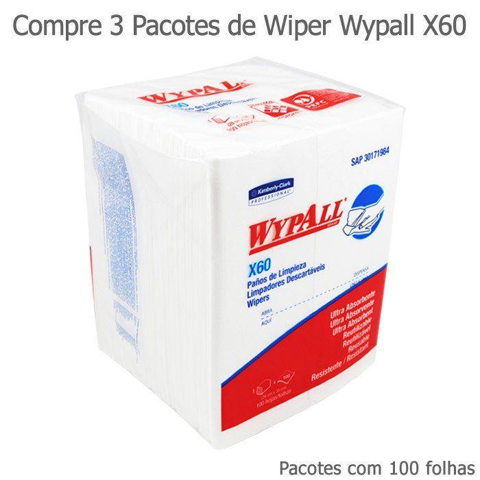 Compre 3 Pacotes de Wiper Wypall X60 Quartfold - Pacotes com 100 panos