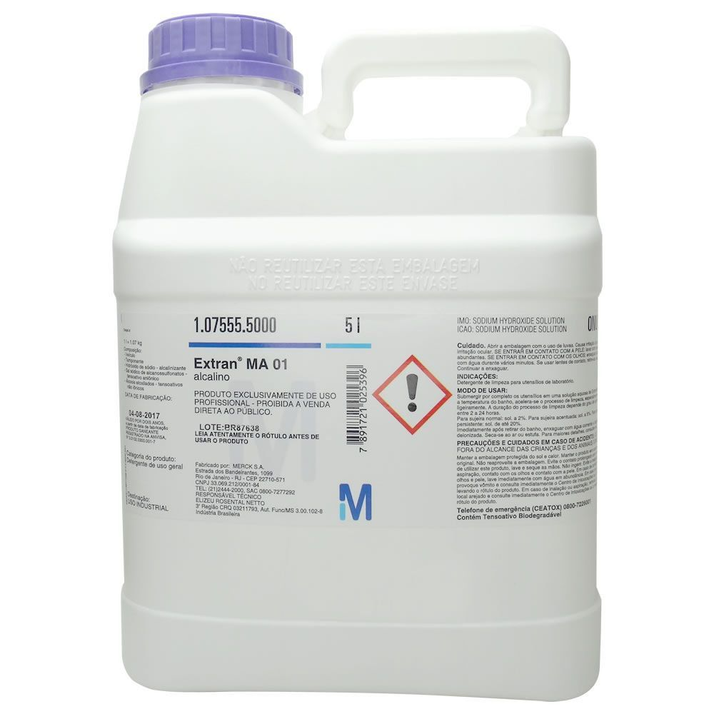 Detergente de Uso Profissional Extran MA01 Alcalino Merck - Embalagem 5 Litros