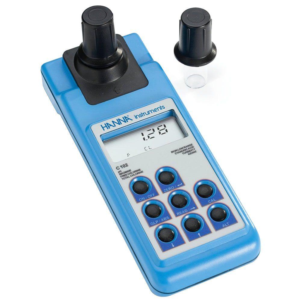 Medidor Multiparâmetro para Análise de Água: Turbidez, Cl2, pH, Br, Fe, I e Ácido Cianúrico Ref. HI 93102