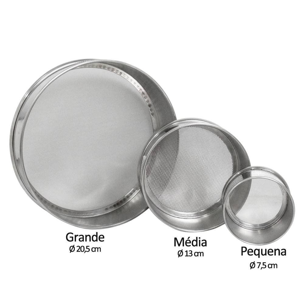 Peneira (Tamis) Granulométrica em Aço Inox 8x2 (Grande)