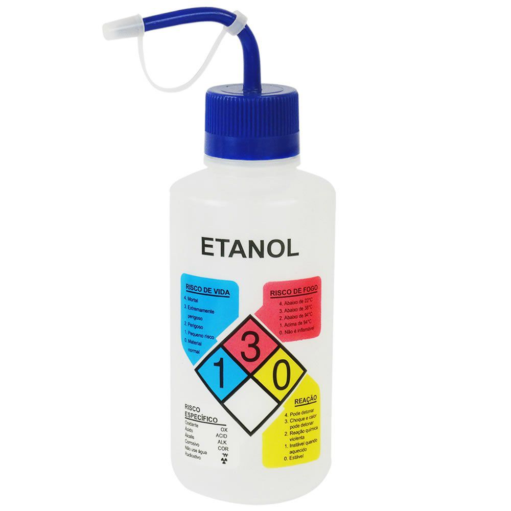 Pisseta em Polietileno 500mL para Etanol Com Classificação de Risco