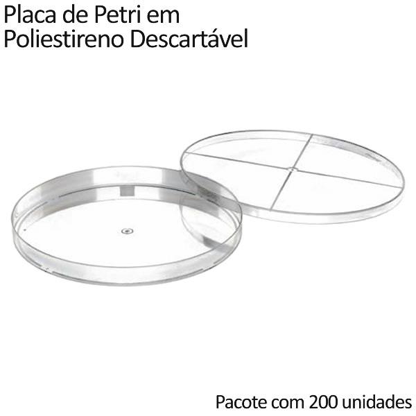 Placa de Petri em Poliestireno Descartável 140x15mm - Pacote com 200 unidades