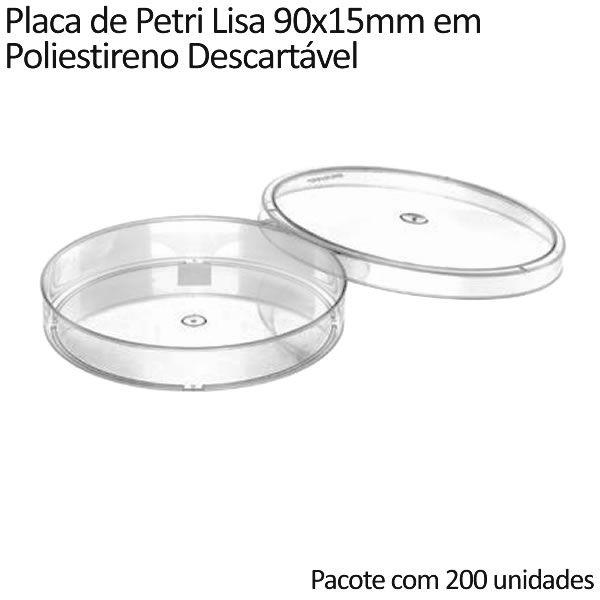 Placa de Petri Lisa em Poliestireno Descartável 90x15mm - Pacote com 200 unidades