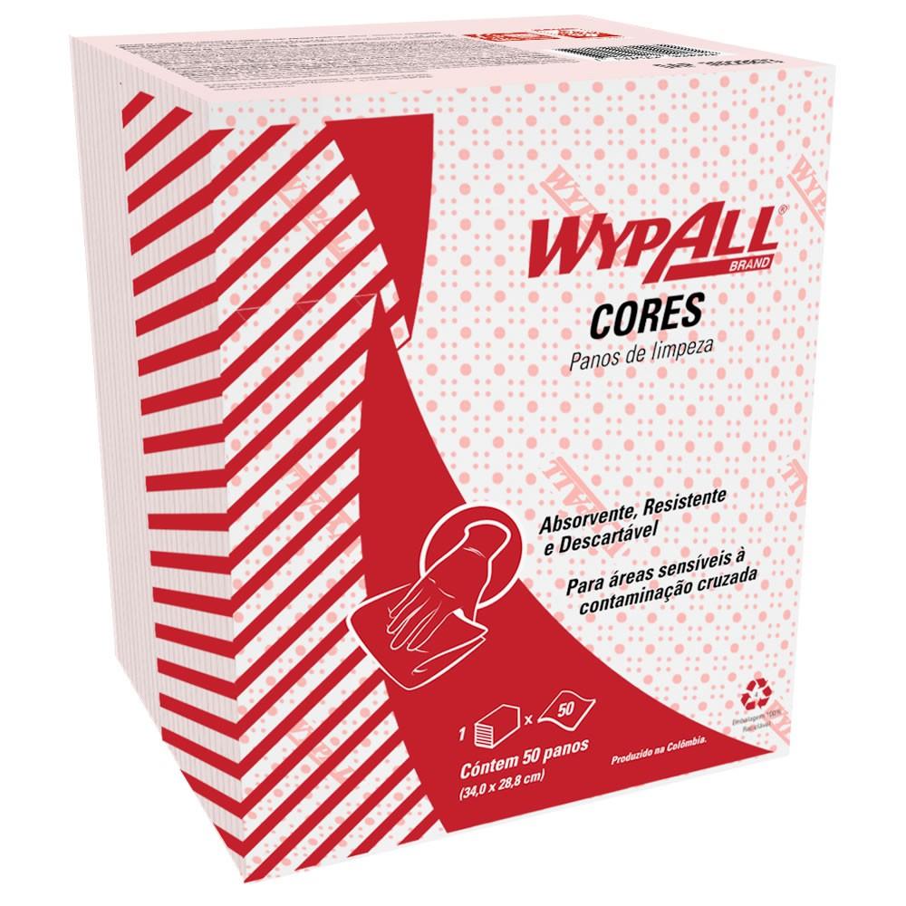 Wiper Wypall X50 Simplimax Cores (34x29cm) VERMELHO Pacote com 50 panos