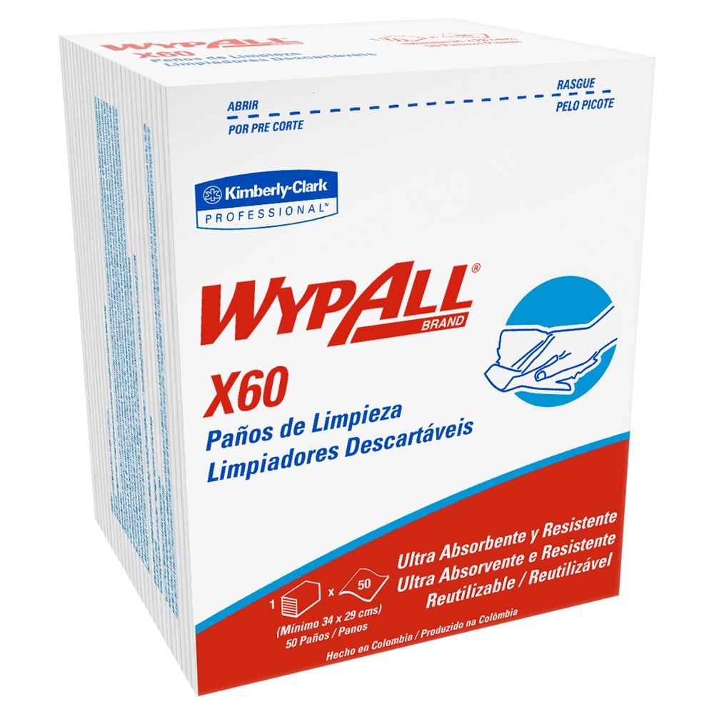 Wiper Wypall X60 (34x29cm) - Pacote com 50 panos