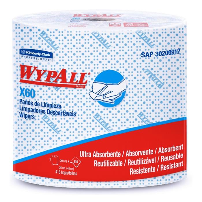 Wiper Wypall X60 Azul - Rolo com 416 panos