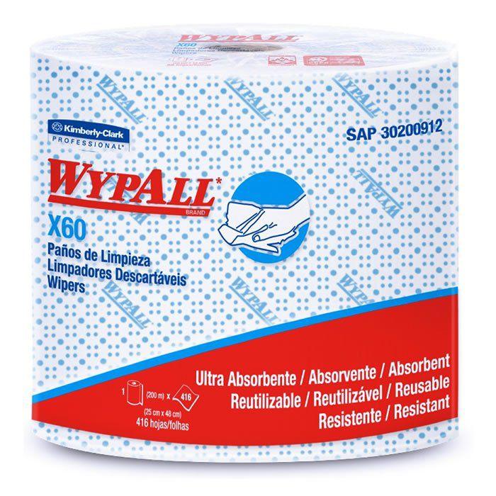Wiper Wypall X60 Azul - Rolo com 650 panos