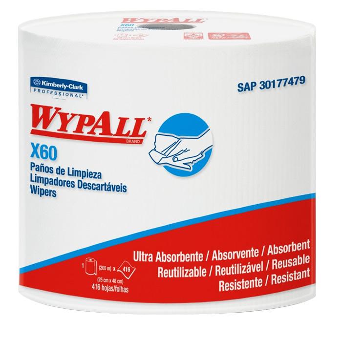Wiper Wypall X60 Branco - Rolo com 416 panos